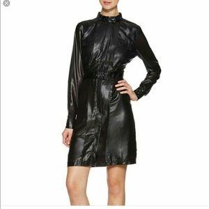 W118 L Black shirt dress long sleeve semi sheer